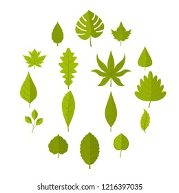 Plant leafs icons set in flat style isolated illustration - Shutterstock ID 1216397035