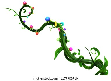 Plant vines green growing twisting, color berries fruit, 3d illustration, horizontal, isolated, over white