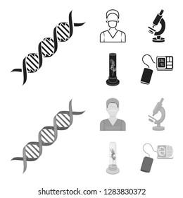 Plant in vitro, nurse, microscope, tonometer. Medicine set collection icons in black,monochrome style bitmap symbol stock illustration web.