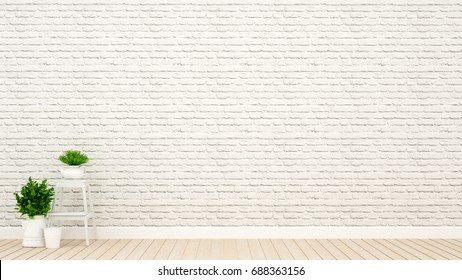 plant and wall decoration in empty room for artwork - 3D Rendering