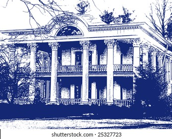 Plantation House stamped in blue