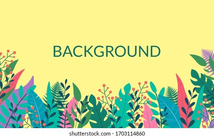 Plants and leaves background in flat style with space for text. Forest, garden or jungle backdrop. Foliage banner, spring and summer card design, nature poster.
