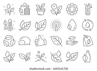 Plants line icons. Mint leaf, Growing plants and Humidity thermometer icons. Bottle with mint water, Nature care, leaf on hand. Gardening new flower, environment, water drop and thermometer.
