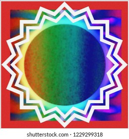 plaster textured psychedelic sun bordered in red
