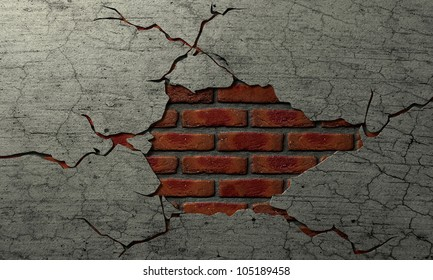 A plastered brick wall with the plaster cracked away revealing a brick center