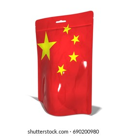Plastic bag Made in China 3D rendering