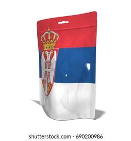 Plastic bag Made in Serbia 3D rendering