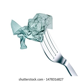 plastic bag ready to eat on a fork for lunch, white background, 3d illustration