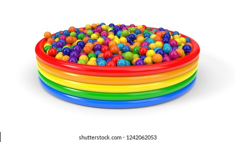 plastic balls filled child pool. suitable for kids, games and toy themes. 3d illustration