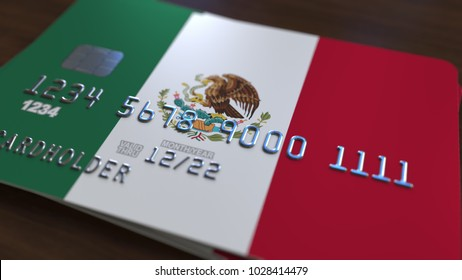 Plastic bank card featuring flag of Mexico. National banking system related 3D rendering