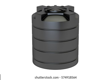 plastic black water tank closeup, 3D rendering isolated on white background