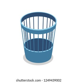 Plastic blue trash basket isometric 3D icon. Office furniture, empty trashcan odject illustration.