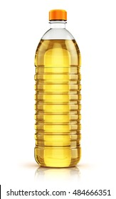 Plastic bottle of yellow refined vegetable cooking oil or organic fat isolated on white background with reflection effect