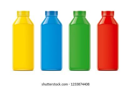 Plastic Bottles Mockup. Colored, not transparent version. 3d rendering