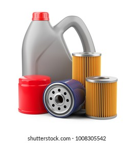 Plastic canister with motor oil and filters. 3d illustration isolated on white background.