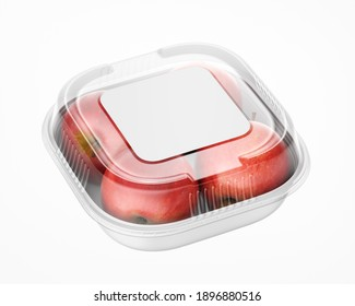 Plastic Container with White Square Paper Label Mockup - 3D Illustration Isolated on White, Halfside View