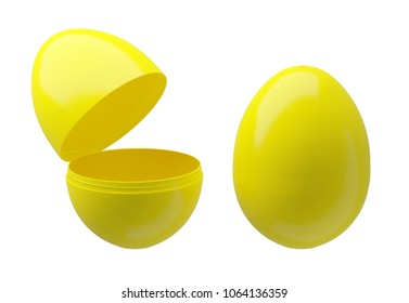 Plastic egg boxes, closed and opened on white background (for presentation)