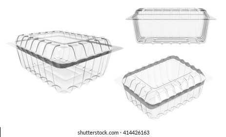 Plastic food package isolated on white background set Mock Up Template Ready For Your Design