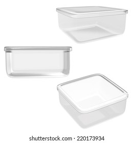 Plastic food small white transparent box isolated on white background. Easy editable for your design.