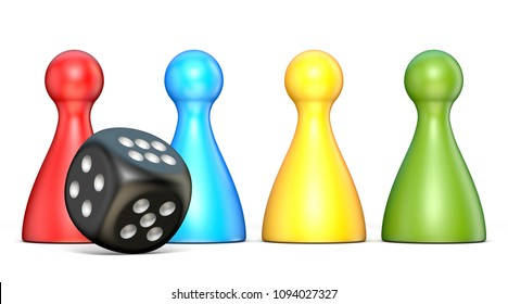 Plastic game figures and one black dice 3D rendering illustration isolated on white background