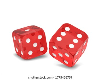 Plastic gaming dice. 3d illustration isolated on white background