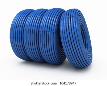 plastic hose rolls (isolated on white and clipping path)