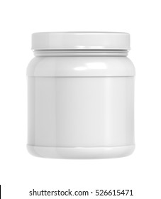 Plastic Jar with Shrink Sleeve Label Mockup on white background