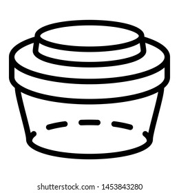 Plastic lunchbox icon. Outline plastic lunchbox icon for web design isolated on white background