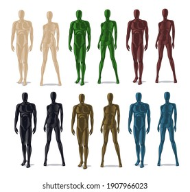 Plastic mannequins. Men and women model dolls for clothes. Isolated colorful dummy for fashion store set