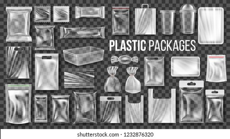 Plastic Packages Transparent Wrap Set. Empty Food Product Polyethylene Package Mock Up Template. Realistic Nylon Doy Pack Packaging Branding Illustration