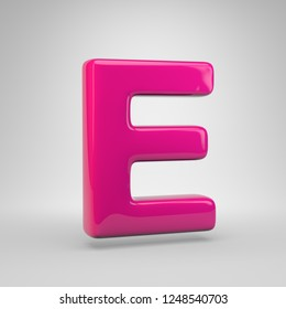 Plastic Pink color letter E uppercase. 3D render glossy font isolated on white background