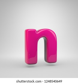 Plastic Pink color letter N lowercase. 3D render glossy font isolated on white background