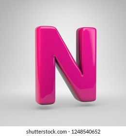 Plastic Pink color letter N uppercase. 3D render glossy font isolated on white background