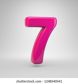 Plastic Pink color number 7. 3D render glossy font isolated on white background