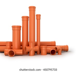 Plastic pipe on white background. Water pipes.3d illustration.
