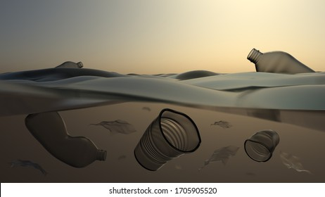 Plastic pollution in ocean. Bottles and glasses underwater. Background with place for text. 3D-rendering.