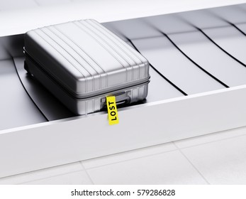 Plastic Suitcase with Yellow Lost Sticker on Baggage Claim Transporter 3d Illustration