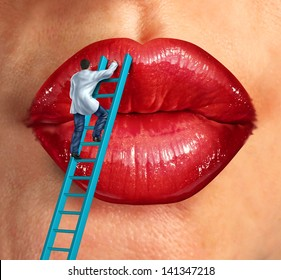 Plastic surgery and cosmetic improvement medical health care concept with a surgeon doctor climbing a ladder ti fix and restore human lips as an idea of fighting the aging process to retain beauty.s