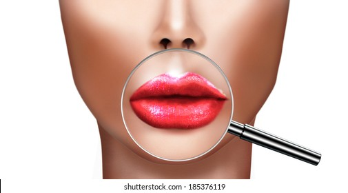 Plastic surgery and cosmetic improvement medical health and beauty, concept with human  lips magnified by magnifying glass. Fighting the aging process .