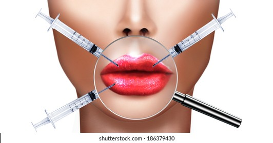 Plastic surgery and cosmetic improvement medical health and beauty, concept with human lips magnified by magnifying glass and syringe injecting Botulinum toxin for fighting the aging process .