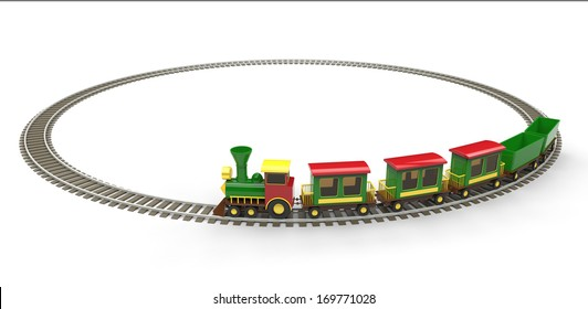 Plastic toy train on white background