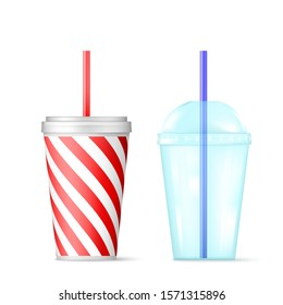 Plastic transparent disposable cup with blue straw for cocktail and red disposable container for ice drink. illustration isolated on white background