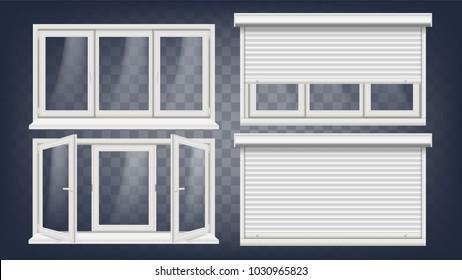 Plastic Window. White Metallic Roller Shutter. PVC Windows. Plastic White Window Frame. Illustration