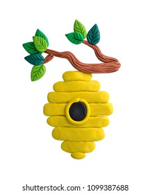 Plasticine illustration. Bee hive.