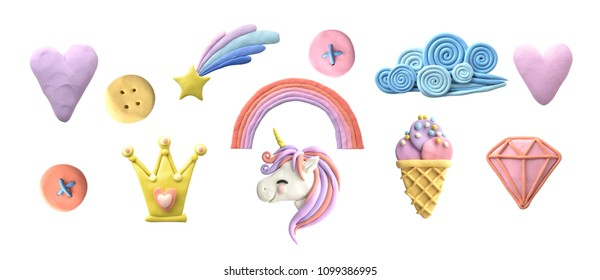 Plasticine illustration. Fantasy set.