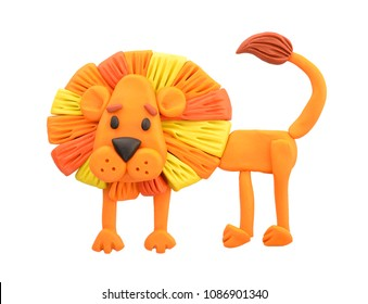 Plasticine illustration. Lion.