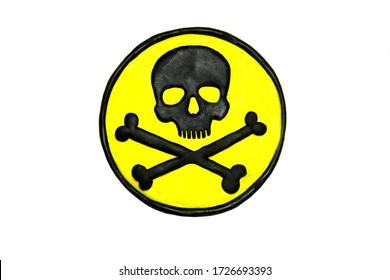 Plasticine textured black and yellow toxic hazard symbol