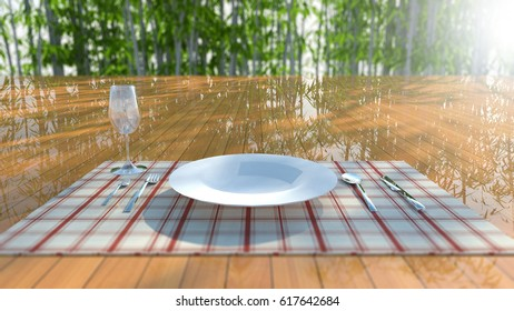 plate in ble knife and fork on Red stripes fabric, 3D illustration.