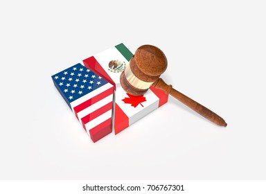 Plate broken into three pieces with U.S., Mexican and Canadian flags with gavel (Hammer).  NAFTA trade agreement termination concept. 3D Illustration.