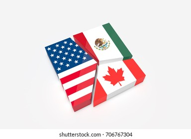 Plate broken into three pieces with American., Mexican and Canadian flags.  NAFTA trade agreement members concept. 3D Illustration.